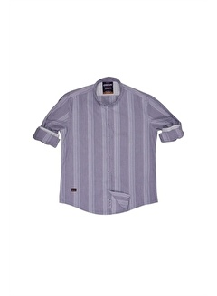 Cosplay İnce Çizgili Slim Büyük Beden Dar Kalıp Katlama Kol Slim Fit Gömlek